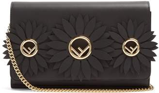 Fendi Flower and logo-embellished leather clutch