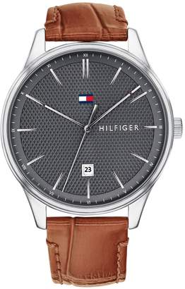 Tommy Hilfiger Grey Dress Watch With Leather Strap