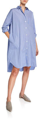 Aspesi Button-Front Long-Sleeve Striped Poplin Shirtdress
