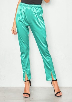 Missy Empire Missyempire Monica Turquoise Silk Split Ankle Slim Leg Trousers