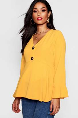 boohoo Maternity Horn Button Frill Blouse
