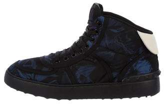 Valentino Floral Print High-Top Sneakers