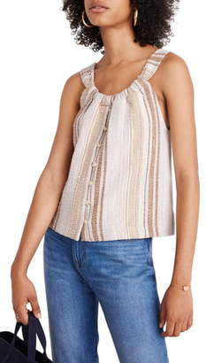 Madewell Texture & Thread Cates Stripe Button-Front Swing Tank