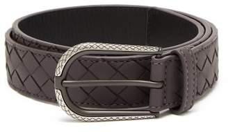 Bottega Veneta Intrecciato Leather Belt - Womens - Burgundy