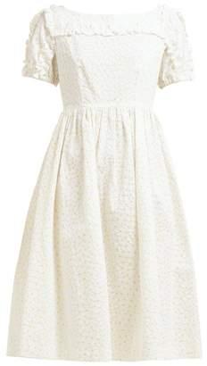 Shrimps Daisy Print Cotton Seersucker Midi Dress - Womens - White Multi