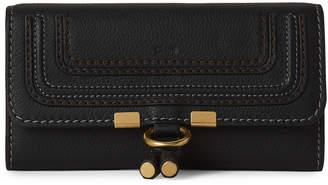 Chloé Black Leather Flap Continental Wallet
