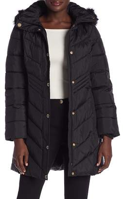 Anne Klein Missy Quilted Snap-Button Faux Fur Jacket