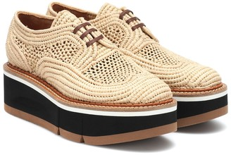 Clergerie Acajou raffia platform oxford shoes