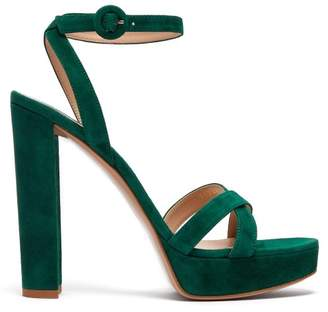 Gianvito Rossi Poppy 100 Suede Platform Sandals - Womens - Dark Green