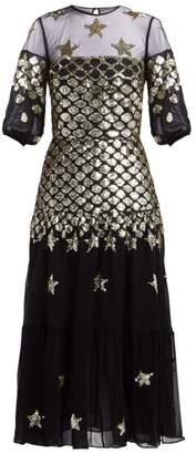 Temperley London Starlet Sequinned Tulle And Chiffon Dress - Womens - Black Multi