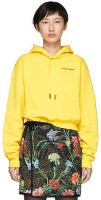 Off-White Yellow Quotes Cropped Hoodie