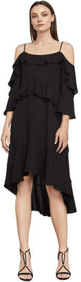 BCBGMAXAZRIA Lorelie Asymmetrical Tiered-Ruffle Dress