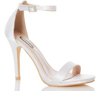 Dorothy Perkins Womens *Quiz Ivory Bridal Satin Heeled Sandals