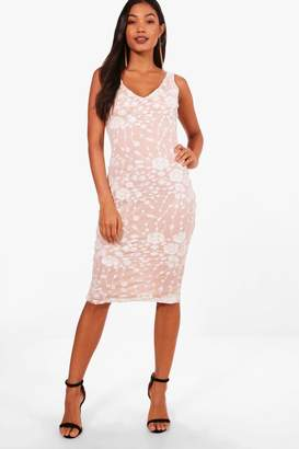 boohoo Boutique Floral Sequin Sleeveless Midi Dress