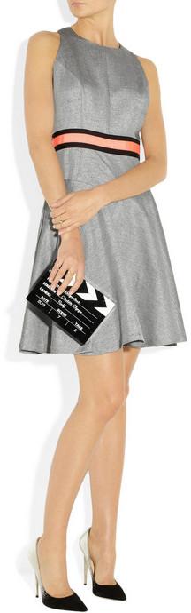 Milly Metallic-flecked slub-woven dress