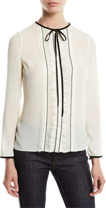 RED Valentino Long-Sleeve Georgette Tie-Neck Blouse