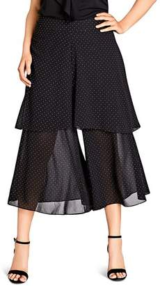 City Chic Plus Dot-Print Flared Cropped Pants
