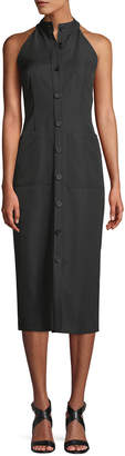 ADAM by Adam Lippes Sleeveless Halter Button-Front Gabardine Wool Midi Dress