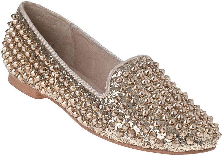 Steve Madden Studlyy Loafer Gold Glitter Fabric