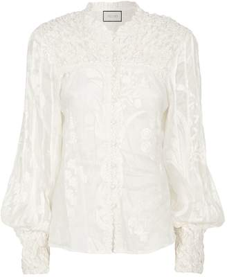Alexis Embroidered Bismarck Top