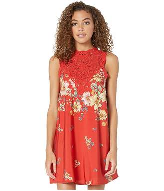 Miss Me Floral Mock Neck Swing Dress