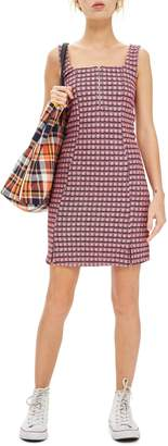Topshop Mini Check Pinafore Dress