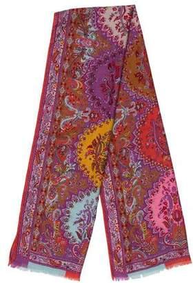 Etro Printed Cashmere Silk Scarf