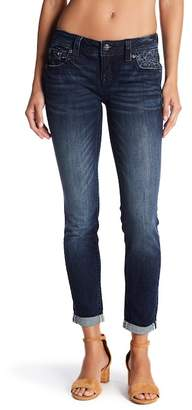 Miss Me Cuffed Embroidered Skinny Jeans