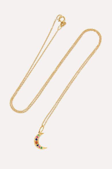 Andrea Fohrman - Crescent Moon 18-karat Gold, Sapphire And Emerald Necklace