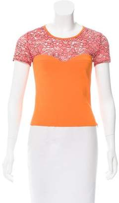 Christian Dior Lace-Trimmed Short Sleeve Top