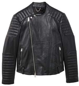 Mango Man MANGO MAN Quilted panels leather jacket