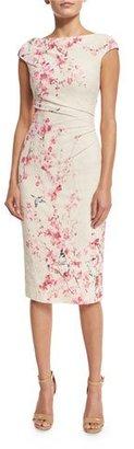 Monique Lhuillier Cherry Blossom Cap-Sleeve Cocktail Dress, Cream/Multi $2,195 thestylecure.com