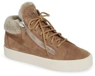 Giuseppe Zanotti Giuseppe May London Mid-Rise Lace-Up Genuine Shearling Sneaker
