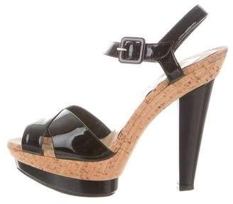Christian Louboutin Patent Leather Crossover Sandals