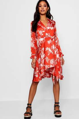 boohoo Luxe Fabric Wrap Front Shirt Dress
