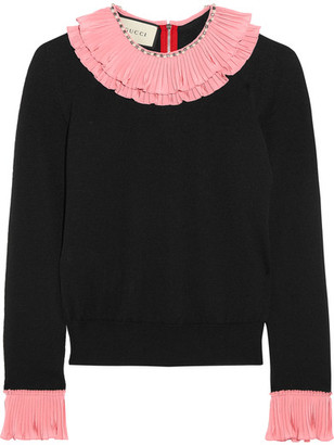 Embellished Ruffled Silk, Wool And Cashmere-blend Sweater - Black