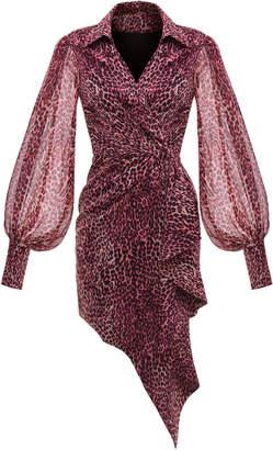 Rasario Leopard Print Chiffon Wrap Mini Dress