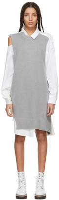 Sacai Grey and White Asymmetric Knit and Poplin Dress