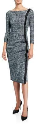 Chiara Boni Long-Sleeve Tweed Dress w/ Piping