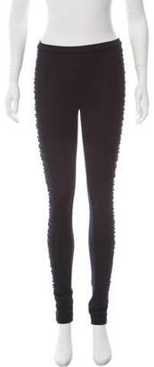 Burberry Ruched Mid-Rise Leggings