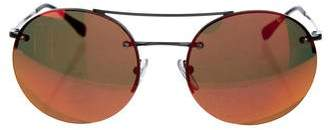 Prada Sport Mirrored Round Sunglasses