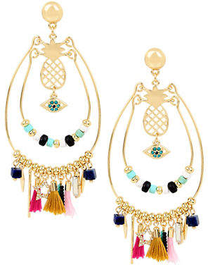 BCBGeneration Angeleno Summer Crystal Double Hoop Multi-Charm Earrings