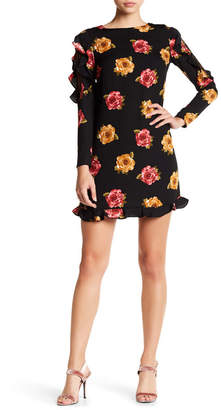 Nicole Miller Studio Ruffled Sleeve Floral Dress