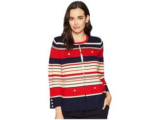 Anne Klein Multi Striped Cardigan with Pocket Flaps Women's Sweater