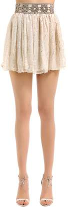 Beaded Silk Chiffon Mini Skirt