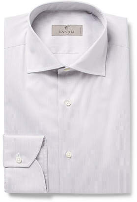 Canali Grey Cutaway-Collar Striped Cotton Shirt
