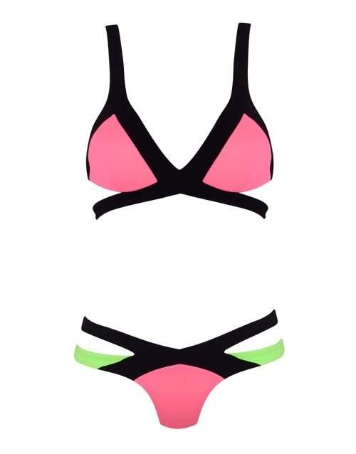 Mazzy Bikini Brief In Pink And Green