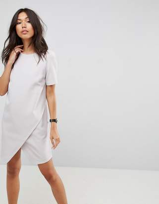 Asos Design Asymmetric Clean Shift midi Dress with Short Sleeve