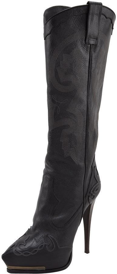 Lanvin High-Heel Cowboy Boot, Black