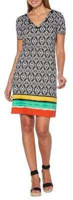 Rafaella Petite Drawstring Printed Shift Dress